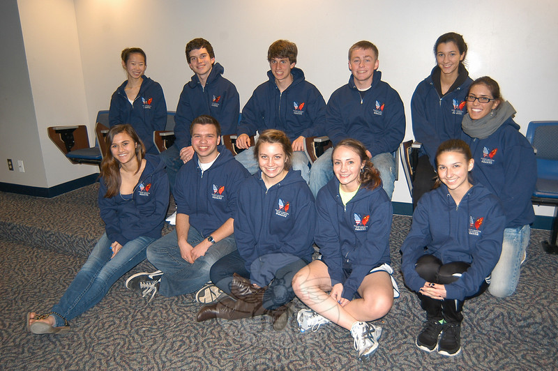 Student ambassadors traveling to China from April 13 to April 26 with the 2011 delegation to visit Newtown's sister schools in the Shandong Province of China, received sweatshirts on Tuesday, April 5, to wear during the trip.  (Hallabeck photo)
