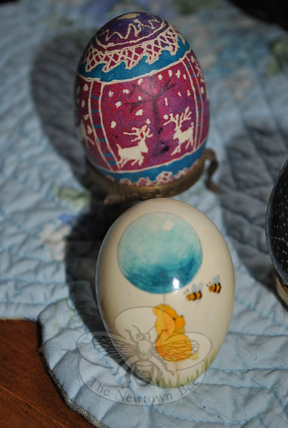 Two of the eggs in Sara Washicko's collection of nvelty and decorative art eggs.  (Crevier photo)