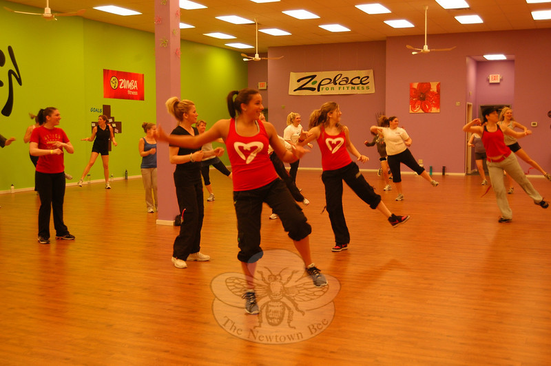 The Zumba For Babies fundraiser was underway on Friday, April 8, at Z Place for Fitness, 266 Main Street South, with eventgoers hitting moves to the beat of raising money for The March of Dimes and its March For Babies event in May. The event was coordinated by Shari Wright, on behalf of The MOMS Club of Newtown-East Brookfield.  (Hallabeck photo)