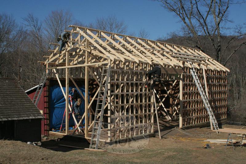 Reconstruction of Bob and Joyce Staudinger's barn.  (Hicks photo)