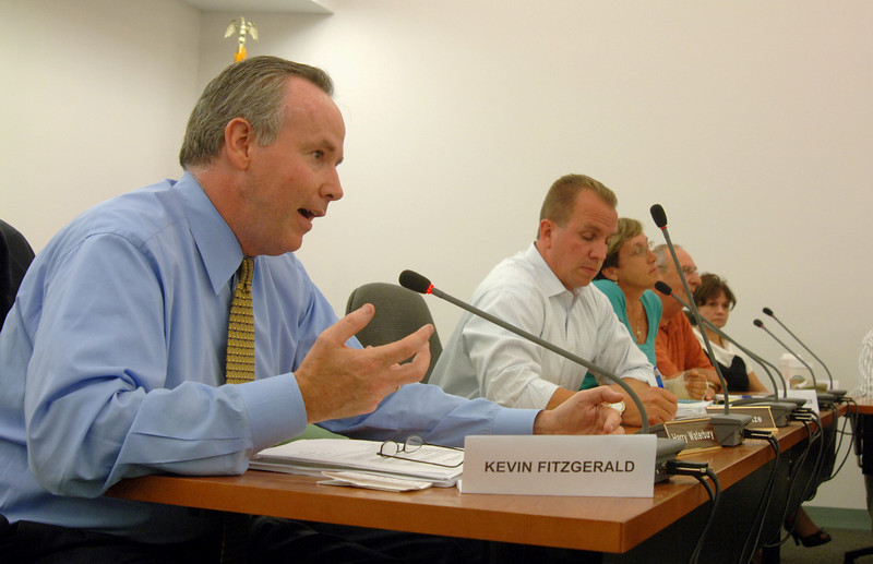 Councilman Kevin Fitzgerald makes a point during a September 28 budget forum in the council chambers at Newtown Municipal Center. Board of Finance Chairman John Kortze, and council colleagues Mary Ann Jacob, Robert Merola, and Jan Andras also participated.  (Bobowick photo)