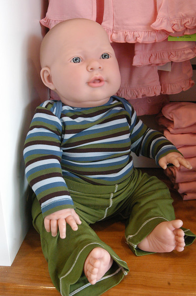 This lifelike baby mannequin is modeling Kicky Pants, one of the many designer clothing lines available at Newtown's newest retail enterprise, Simply Baby and Kids in the Sand Hill Plaza.  (Gorosko photo)