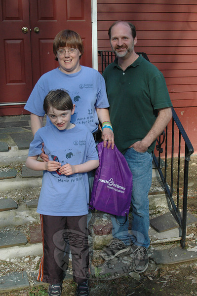 Longtime Newtown Bee printing plant employee Eileen Hardman, left, stands with her nine-year-old son, Jimmy Felchner, Jr, and friend Chris Clark. The trio will be joined by friends and neighbors raising funds and awareness about premature births on Sunday, May 1, at the Candlewood Lake Regional March of Dimes March for Babies. Registration for the 10 am main event opens at 9 am that morning at the CityCenter Green between Ives and Delay Streets in Danbury. According to the March of Dimes, about one in ten Connecticut babies are born premature annually.  (Voket photo)
