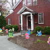 "What a surprise for Newtown Bee employees the morning of Wednesday, April 27, to arrive at work and find that they had been ""flocked."" These hand carved and painted whimsical birds filled the gardens in front of 5 Church Hill Road, the work of coach Dawn Gray's Odyssey of the Mind creative thinking group that is raising funds to compete in the World Finals competition in May, to be held at the University of Maryland. A little bird tells us — and we are not saying which one — that it was nearby neighbor John Vouros, of The Dana-Holcombe House (and former gifted program teacher at Newtown Middle School), who ""flocked"" The Bee.  (Hicks photo)"