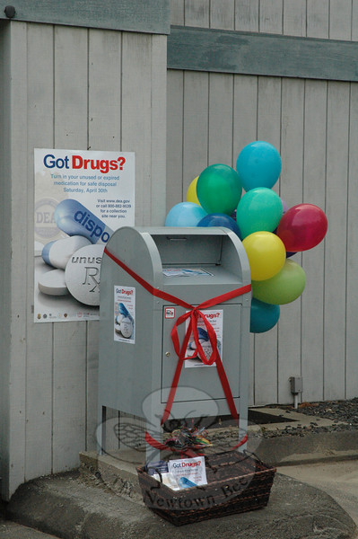 This steel collection box positioned at the main entrance to the police station at 3 Main Street will be used on Saturday, April 30, when the town and the US Drug Enforcement Administration (DEA) sponsor a collection project there for unused or expired prescription drugs. The collection runs from 10 am to 2 pm.  (Gorosko photo)