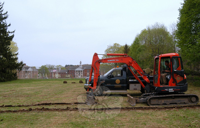 Employees of Newtown Parks & Recreation broke ground on May 3 for a community garden planned for Fairfield Hills.  (Bobowick photo)