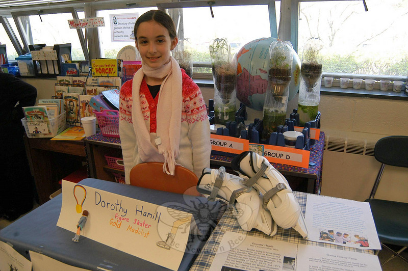 """Students at Middle Gate School offered the results of the school's annual """"Living Biographies"""" project on April 29.  (Hallabeck photo)"""