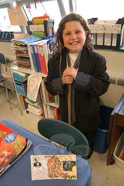 "Students at Middle Gate School offered the results of the school's annual ""Living Biographies"" project on April 29.  (Hallabeck photo)"