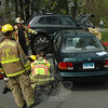 Police, fire and ambulance personnel responded to a two-vehicle collision near 19 Old Green Road about 2:14 pm May 2. Motorist Allyx Ross, 17, of 39 Horseshoe Ridge Road was driving a 1998 Honda Civic sedan westward on Old Green Road, as motorist Max Nacewicz, 17, of 7 Yearling Lane was driving a 2007 Hyundai Tucson SUV eastward there. The two vehicles then collided head-on. Ambulance staffers transported both drivers to Danbury Hospital for treatment of injuries. Police temporarily closed a section of Old Green Road to through-traffic to investigate the incident. The accident remains under investigation.  (Gorosko photo)
