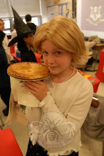 "Brianna Lovely, a fourth grade student at Middle Gate Elementary School, dressed as Martha Stewart on Friday, April 29, during the fourth grade presentation of ""Living Biographies.""  (Hallabeck photo)"
