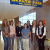 Some of the coordinators for the May 18 Newtown High School Health Fair at the entrance to the event in the school's new cafetorium space. From left is Newtown Parks & Recreation Director Amy Mangold, NHS substance abuse counselor Martha Shilstone, NHS Nurse Dee Cupole, Newtown Health District Director Donna Culbert, NHS physical education teacher Kathleen Davey, Newtown's District Health Coordinator Judy Blanchard, and Newtown Prevention Council Grant Coordinator Kim Killoy.  (Hallabeck photo)
