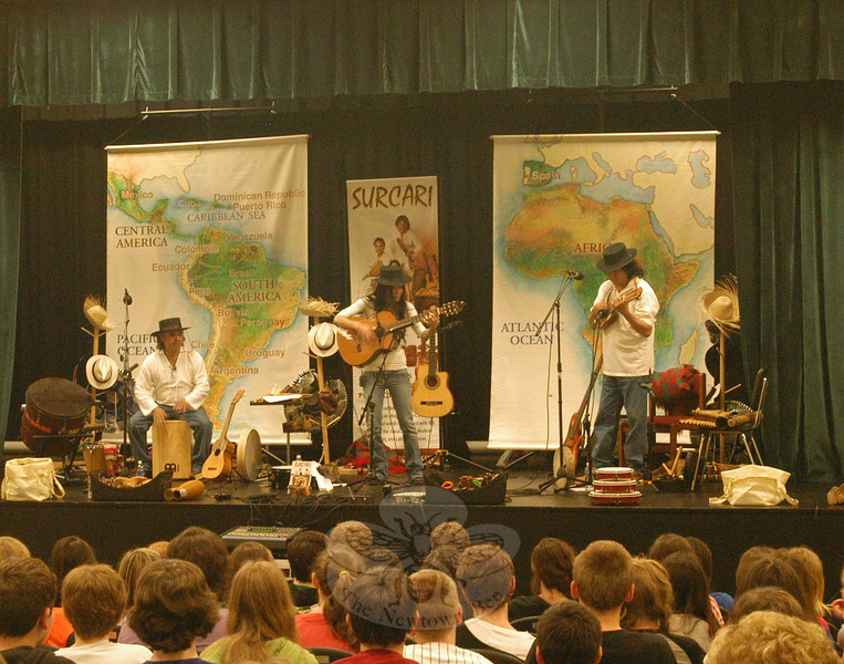 The music performance group Surcari performed for Newtown Middle School students during a PTA cultural arts presentation on Tuesday, May 24. Members, from left, are Eugenio Huanca, Lorena Garay, and Tany Cruz.  (Hallabeck photo)