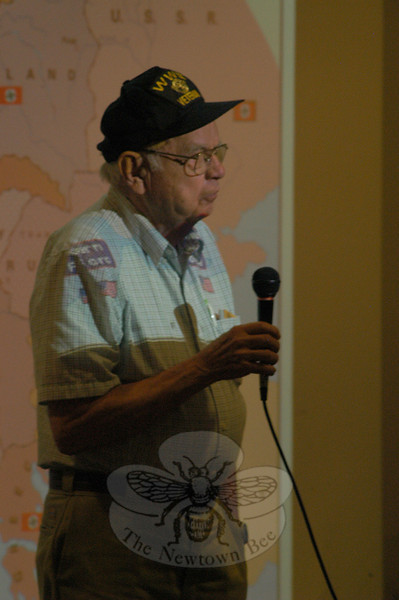 Sandy Hook resident and Army veteran Warren Pinckney spoke to Newtown High School students on June 8, during a presentation by World War II veterans and the Military Museum of Southern New England of Danbury.  (Hallabeck photo)
