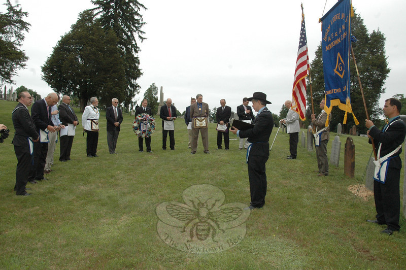 Friends and Masons, including members of the local Hiram Lodge #18, gathered at Newtown Village Cemetery on June 12 to commemorate the chartering of the lodge and memorialize Captain Peter Nichols, the Master of the local Masonic Lodge.  (Voket photo)