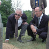 Local attorney Robert Hall, left, inspects the spruced up gravesite of his great-great-great-great-grandfather Captain Peter Nichols as Anthony Neri looks on. The pair were among more than a dozen friends and Masons, including members of the local Hiram Lodge #18, who gathered at Newtown Village Cemetery on June 12 to commemorate the chartering of the lodge and memorialize Capt Nichols who was its first Master.  (Voket photo)