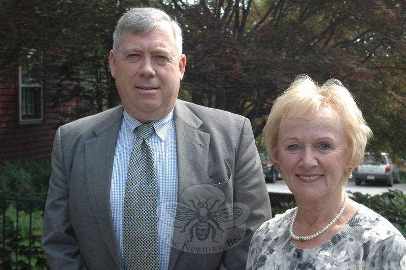 Newtown's Republican First Selectman Pat Llodra, right, and her running mate Will Rodgers announced this week that they intend to share the GOP ticket again in a bid for re-election this November. The pair said they want to continue their work developing long-term structural changes in Newtown's fiscal operations, and the integration of Fairfield Hills into the fabric of the overall community.  (Voket photo)
