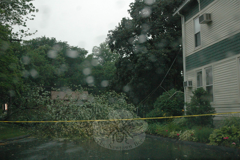 The rectory at St Rose of Lima had a close call Thursday, when a large falling tree pulled down wires and narrowly missed hitting the Church Hill Road building.  (Gorosko photo)