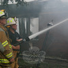 Hawleyville Fire Chief Joe Farrell was the officer in command at the Great Hill Road fire. On the right is his assistant chief, Paul Basso.  (Hicks photo)