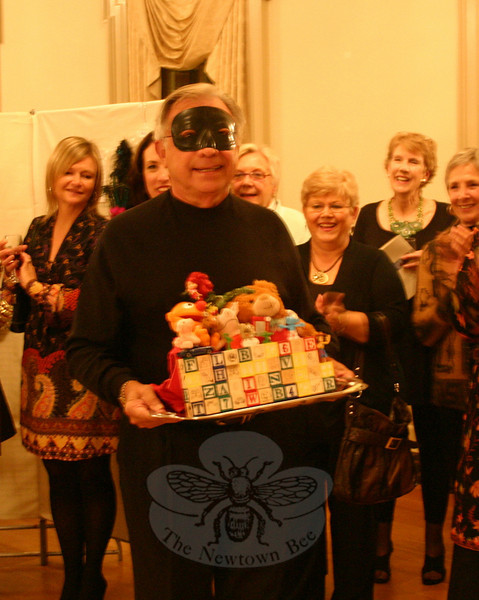 "Joe Humeston escorted ""Toy Chest"" during the Artful Bras event October 23 at Edmond Town Hall.  (Hicks photo)"