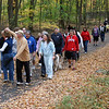CROP Walk participants ambled through a scenic sylvan setting at Fairfield Hills on Sunday, October 24, during the annual fundraising event intended to end hunger at home and around the world. CROP is an acronym for Communities Responding to Overcome Poverty. Fundraising walks are communitywide events sponsored by Church World Service and organized by local churches. Through sponsorship and fundraising, CROP Walks raise more than $16 million annually. Members of at least five Newtown churches, of all ages, were signed up to participate in this year's walk, which stepped off from the area in front of Cochran House at Fairfield Hills shortly after 2.  (Gorosko photo)
