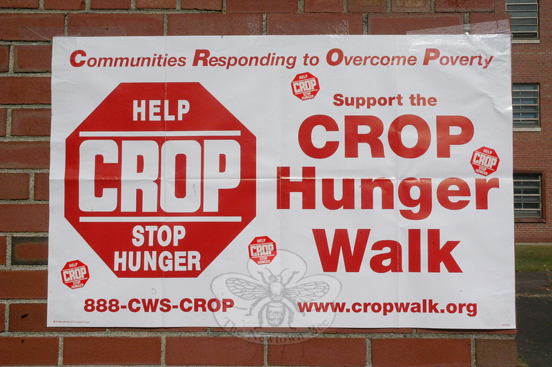 Participants in the local CROP Walk on Sunday, October 24, at Fairfield Hills posted a banner on the side of Cochran House at Fairfield Hills to display the group's symbol in its drive to end hunger at home and around the world.  (Gorosko photo)