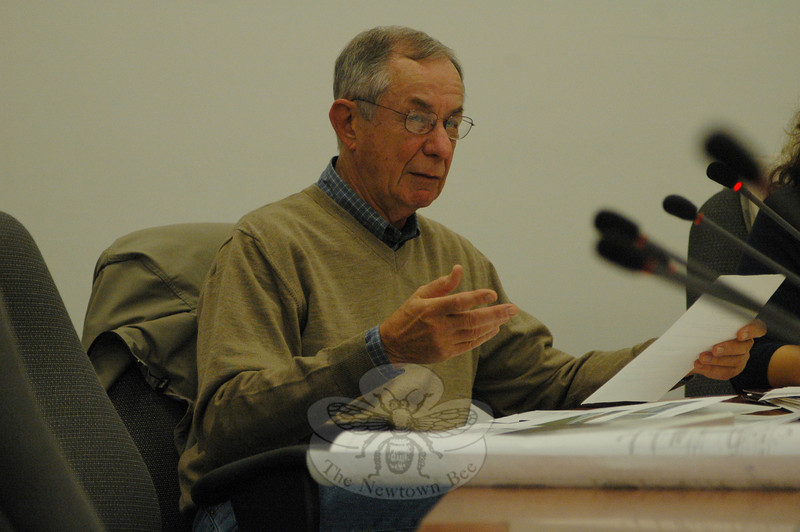 Inland Wetlands Commission member Philip Kotch makes a point at an October 27 IWC public hearing on Newtown Hook & Ladder's request for a wetlands/watercourses protection permit for its proposed firehouse at 12 Sugar Street (Route 302).  (Gorosko photo)