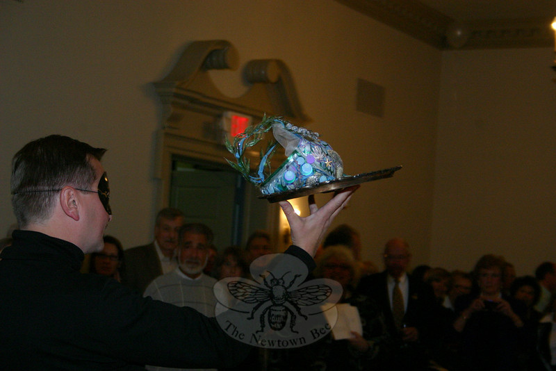 "Joe Gorgasky escorted ""She Shells"" during the Artful Bras event.  (Hicks photo)"