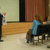 Reed Intermediate School Assistant Principal Anthony Salvatore spoke to 15 parents at the school's first Parent Forum on Wednesday, October 13.  (Hallabeck photo)