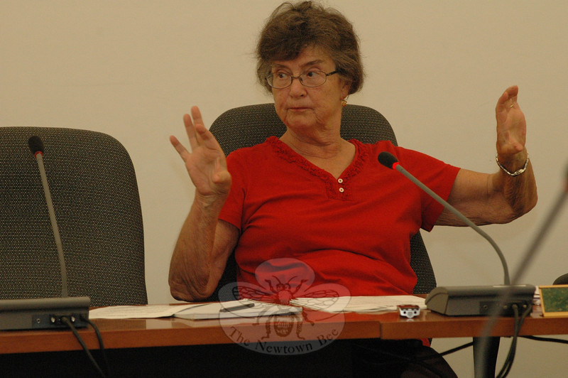 Planning and Zoning Commission Chairman Lilla Dean makes a point at a July 7 P&Z session at which the agency liberalized its rules on the use of temporary signs by retail businesses to advertise sales.  (Gorosko photo)
