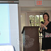 Ellen Matloff, director of cancer genetic counseling at Yale Cancer Center in New Haven, addresses the Hadassah Women's Chapter at Heritage Village, July 12. While people of Jewish ancestry have an increased risk factor for cancer that makes genetic counseling and testing that much more important, there is no ethnic group that is free of cancer risks, says Ms Matloff.  (Crevier photo)