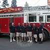 Newtown Hook & Ladder Co. #1 recently elected its officers for 2011-12. Standing in front of the company's Pierce ladder truck are, from left, Dave Ober, second assistant engineer; Brian Slattery, first assistant engineer; Rob Manna, chief engineer; Joe Miller, second assistant chief; Ray Corbo, first assistant chief; and Chief Jason Rivera. Mr Rivera has led the volunteer firefighting company in its lead position since 2009. All offices took effect July 1.  (Hicks photo)