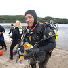 Lee Wassen emerges after 15 minutes below the surface at Eichler's Cove during a dive drill Saturday, September 17.  (Bobowick photo)