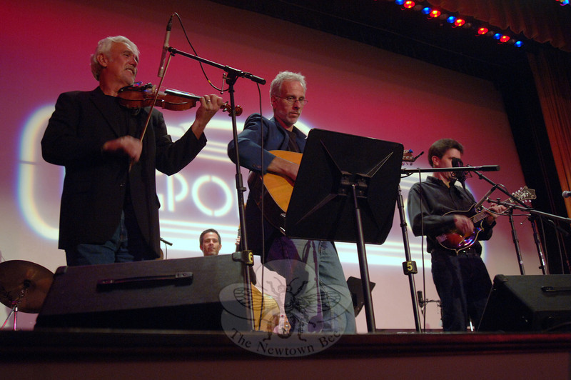 Flagpole Radio Café Orchestra members, from left, are Howie Bujese, Dick Neal, and Jim Allyn in front, and bass player Rick Brodsky in the background.  (Bobowick photo)