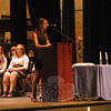 Newtown High School Honor Society President Marina Lleonart-Calvo addresses the audience at the start of this year's National Honor Society Induction Ceremonies, held Monday, September 26.  (Hallabeck photo)