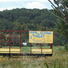 A hay trailer positioned near Sugar Street (Route 302) advertises the Ukrainian Festival.  (Gorosko photo)