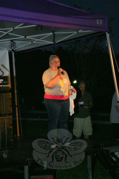 Mary Teicholz of Danbury has survived acute myelogenous leukemia (AML) and mylodysplastic syndrome, and went through a bone marrow transplant. She was one of two LLS Honored Heroes to share their story during Light The Night.  (Hicks photo)