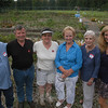 Some of the people involved in the Victory Garden project gathered by the garden for a photo. From left, garden organizer Harvey Pessin; Chuck Newman and Barbara O'Connor, both of Planters' Choice, LLC; First Selectman Pat Llodra; Lee Paulsen of FAITH Food Pantry; and Amy Mangold, town director of Parks and Recreation. (Gorosko photo)