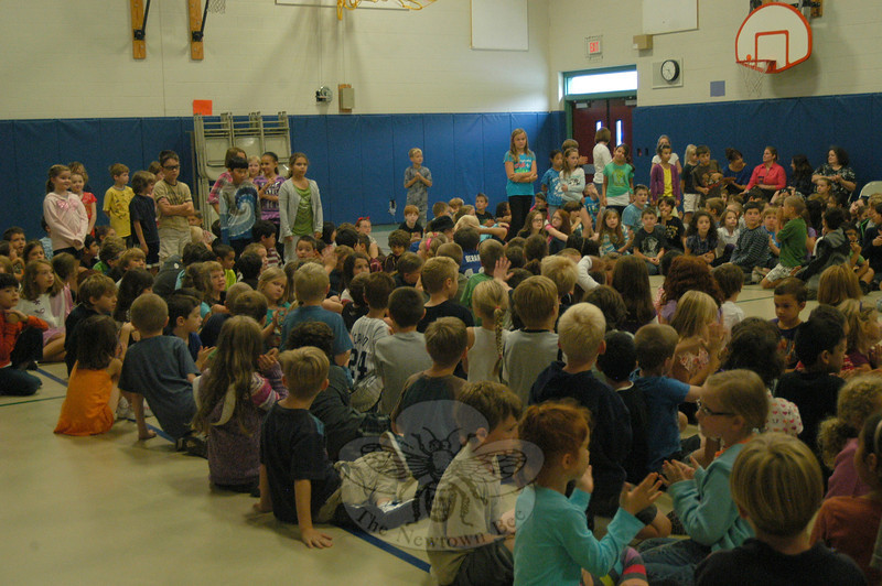 Hawley Elementary School fourth grade students stood up to be recognized during a schoolwide assembly on Wednesday, September 21, that celebrated the school's summer readers.  (Hallabeck photo)