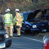 Hawleyville volunteer firefighters, volunteer ambulance staffers, and police responded to an apparent two-vehicle accident that occurred about 3:20 pm November 2 near 172 Mt Pleasant Road (Route 6). The collision apparently involved two pickup trucks which came to rest about 200 feet apart after the accident. The incident temporarily closed a section of Mt Pleasant Road to through traffic.  (Gorosko photo)