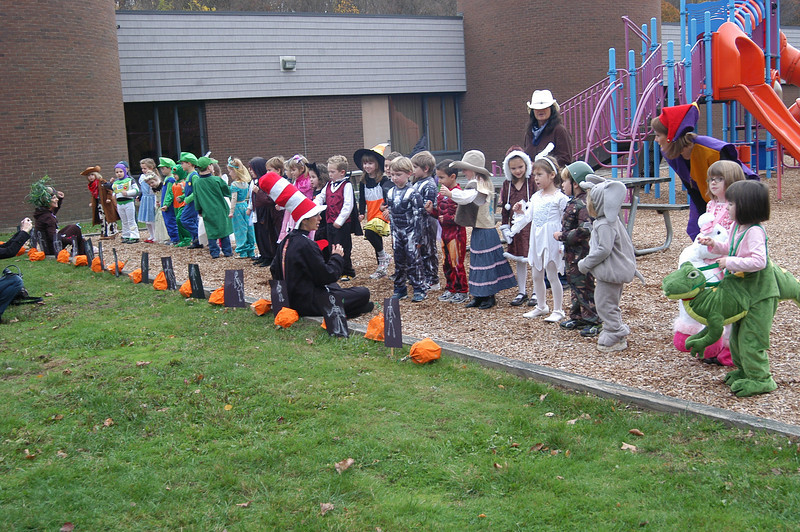 From the Dr Seuss elephant character Horton to Dracula, Head O' Meadow kindergarten students were dressed and ready to celebrate Halloween with visiting parents and relatives on Friday, October 29. Students lined up and sang for parents outside the school under the direction of Head O' Meadow teachers.  (Hallabeck photo)