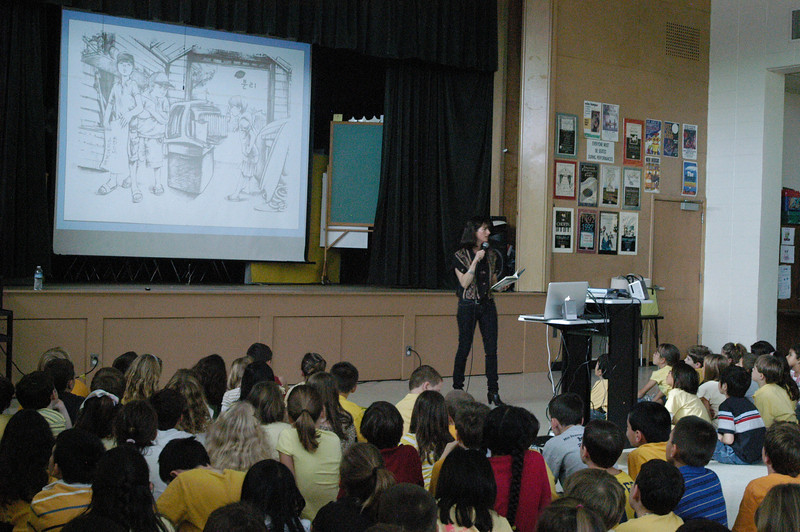 The Lemonade War author Jacqueline Davies visited Sandy Hook School on Thursday, October 28, to speak to students about her book as one of the main culminating events for this year's One School One Read program, which has every student in the school read the same book at once.  (Hallabeck photo)