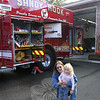 Marylou Vayan and her granddaughter Sierra, 3, were the first guests to arrive at the Sandy Hook firehouse on October 2.  (Hicks photo)