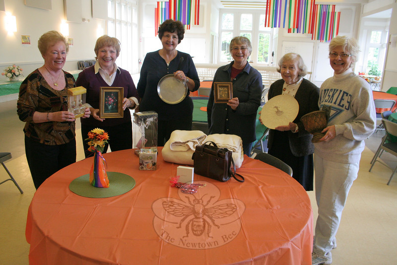 Jewelry, knickknacks, art, clothing… it is all acceptable for the 2nd Annual Swap Night being planned for October 21 at Newtown Congregational Church. Members of the church's Circle of Love are planning the event including, from left, Marie Sturdevant, Pat Hubert, Marybeth Hibbard, Ester Nichols, Dolores Allen, and Liz Eaton.  (Hicks photo)