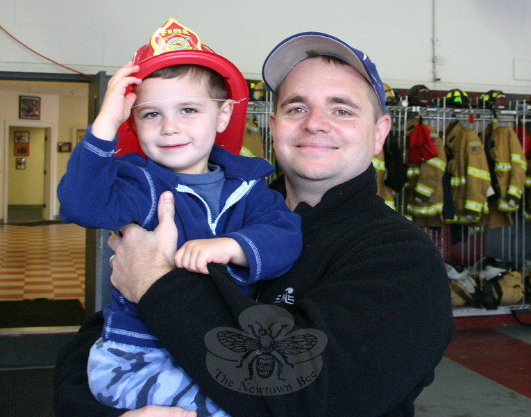 Joe and Joseph Belisari were early arrivals at the Sandy Hook Fire & Rescue open house.<br />   (Hicks photo)