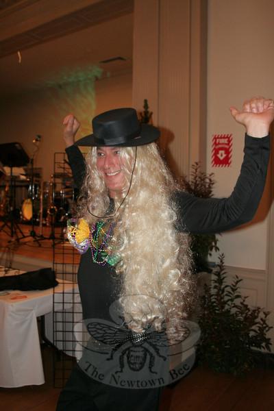 "Doug Pincus, modeling Sara Currier's ""Mardi Gras.""  (Hicks photo)"