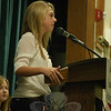 By the end of the day on Friday, Katie Mossbarger was elected president for Newtown Middle School's Student Council. Katie gives her final speech of the day in the school's auditorium. (Hallabeck photo)