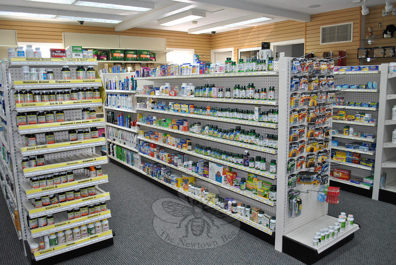 The compact floor plan of Reliant Pharmacy at 200 Main Street South, Southbury, does not allow for extraneous products such as books and magazines. A complete selection of health care and first aid products, as well as an extensive selection of vitamins stock the shelves, and provide much of what drug store customers need.  (Crevier photo)