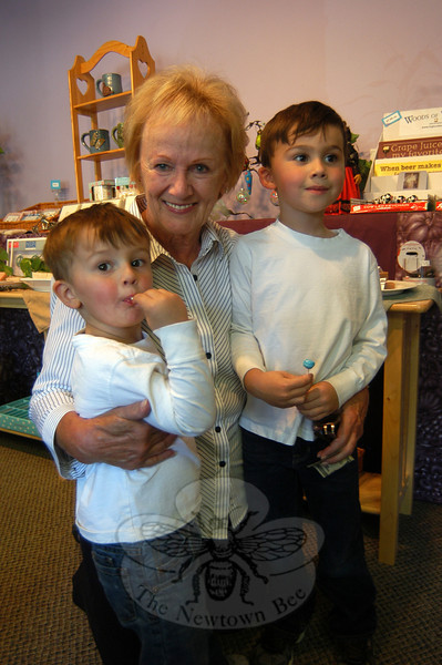 First Selectman Pat Llodra, middle, visited Life's A Peach during the inaugural Passport To Sandy Hook festivities, with her two grandchildren Nick, left, and Jack Gillman.  (Hallabeck photo)