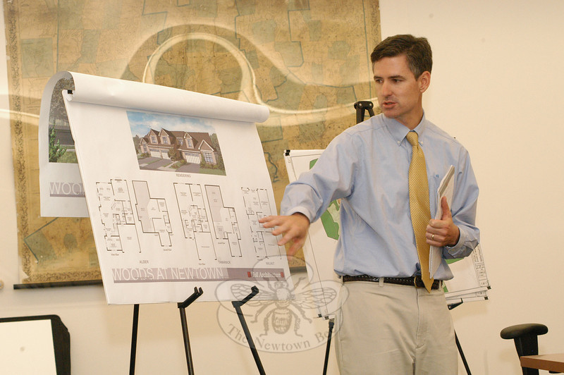 Engineer Tom Daly of Milone & MacBroom, Inc, representing Toll Brothers, Inc, describes the plans for some townhouse-style condominium units that the developer plans to construct in Hawleyville.  (Gorosko photo)
