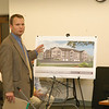 Jack Lannamann of Toll Brothers, Inc, describes the details of a 178-unit condo complex that the firm plans to construct at the 50-acre site of a depleted sand and gravel mine in Hawleyville. He spoke at an October 6 Planning and Zoning Commission public hearing.  (Gorosko photo)